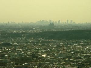 多峰主山から見る都心の高層ビル群